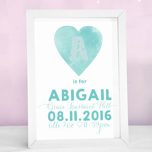 Personalised Heart Print - nursery pictures & prints