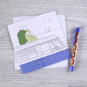 Campervan Greetings Card 'A Room With A View'
