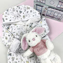 Personalised Baby Girl Bunny And Bathrobe Hamper