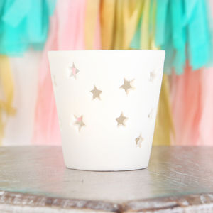 Ceramic Star Cut Out Tea Light Candle Holder - tableware