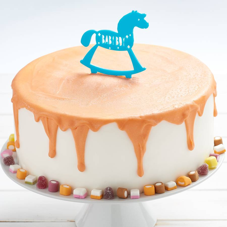 Rocking Horse Cake Topper In Blue