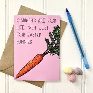 Funny Easter Carrot Illustration Card