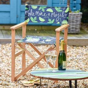 Mojito Summer Recipe Print Garden Directors Chair - garden furniture