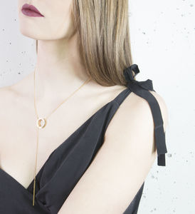 Gold Circle And Bar Lariat Necklace