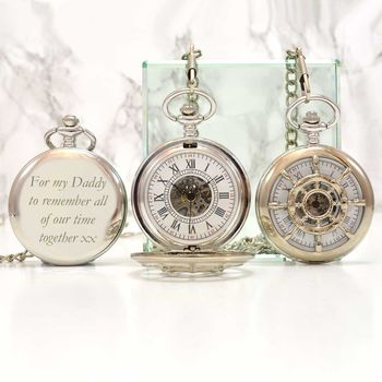 Personalised Pocket Watch With A Nautical Wheel Design