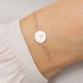 Personalised Initial And Date Bracelet