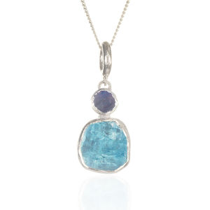 Aquamarine And Moonstone Gemstone Ladies Silver Pendant - necklaces & pendants