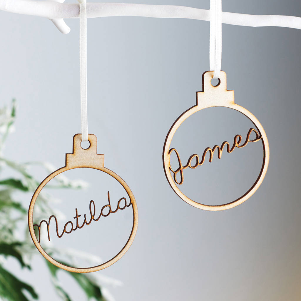 Personalised Wooden Name Christmas Bauble