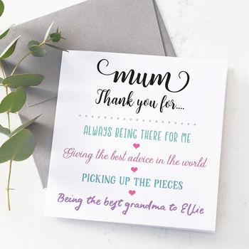 Personalised Thank You Mum Mothers Day Card