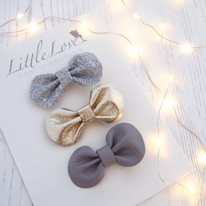 Mini Bow Hair Clips Set / Moonlight - christmas clothing & accessories