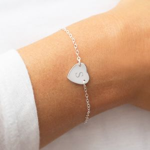 Personalised Sterling Silver Initial Heart Bracelet - for children