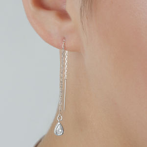 Sparkly Sterling Silver Threader Earrings