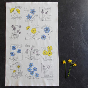 Cornish Wild Flowers Tea Towel