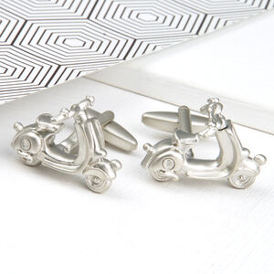 Personalised Retro Silver Scooter Cufflinks