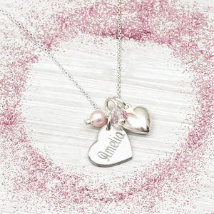 Sterling Silver Personalised Pearl Heart Necklace - children's jewellery
