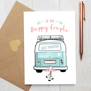 Wedding Card With Colourful Camper Van And Rhinestones