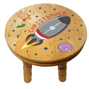 Personalised Space Rocket Wooden Childrens Stool