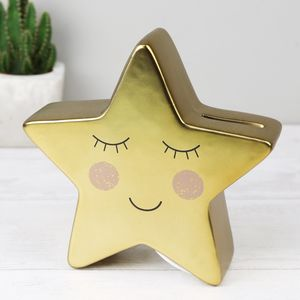 Gold Star Shaped Money Box - money boxes