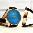 Personalised Men's Black And Blue Wrist Watch