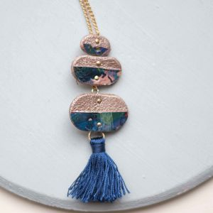 Supernova Marbled Pebble Drop Tassel Necklace