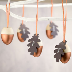 Personalised Set Of Wooden Acorn Decorations - tree decorations