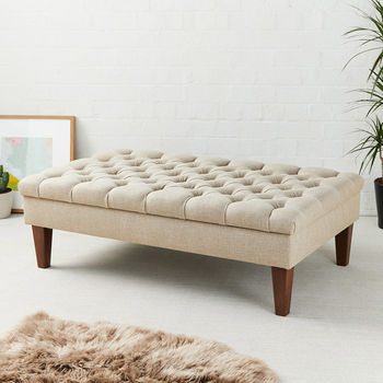 Deep Buttoned Coffee Table Stool