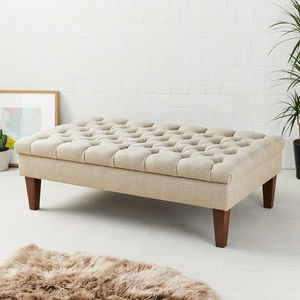 Deep Buttoned Coffee Table Stool - living room