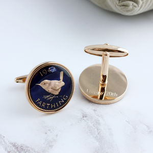 Farthing 70th 1947 Rose Gold Enamel Coin Cufflinks - cufflinks