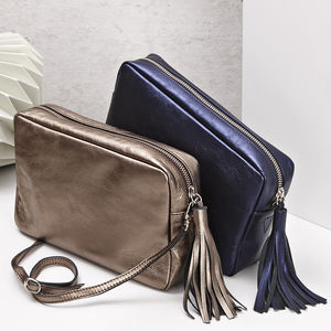 Cross Body Metallic Leather Bag - clutch bags