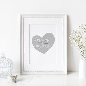 Personalised 'Forever And Always' Heart Print - what's new