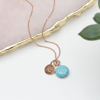Rose Gold Or Sterling Silver And Turquoise Necklace