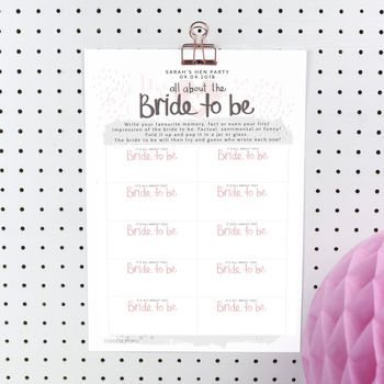 Printable Personalised Bride To Be Hen Party Game