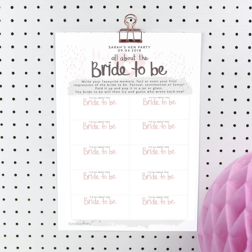 image about Bridal Games Printable called Printable Individualized Bride In direction of Be Fowl Get together Recreation