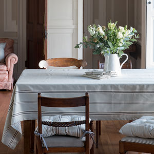 Eastnor Grey Stripe Organic Table Cloth - table linen