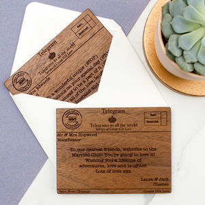 Personalised Wood Telegram Wedding