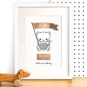 Personalised Kitten Nursery Art With Rose Gold Foil
