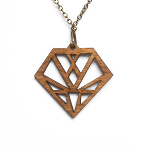 Contemporary Geometric Diamond Pendant Necklace D9 - necklaces & pendants