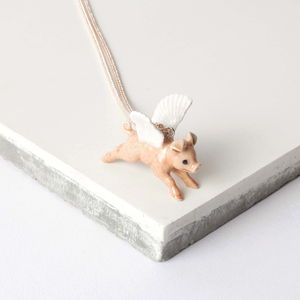 Flying Pig With White Wings Necklace - necklaces & pendants