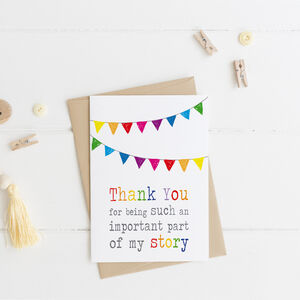 Thank You Rainbow Bunting My/Our Story Card