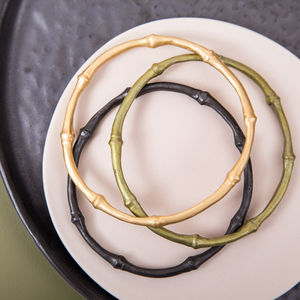 Bronze And Gold Plated Bamboo Bangle Set