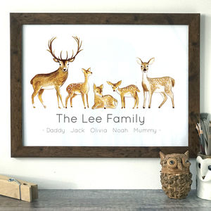 Personalised Family Deer Portrait Print - pictures & prints for children