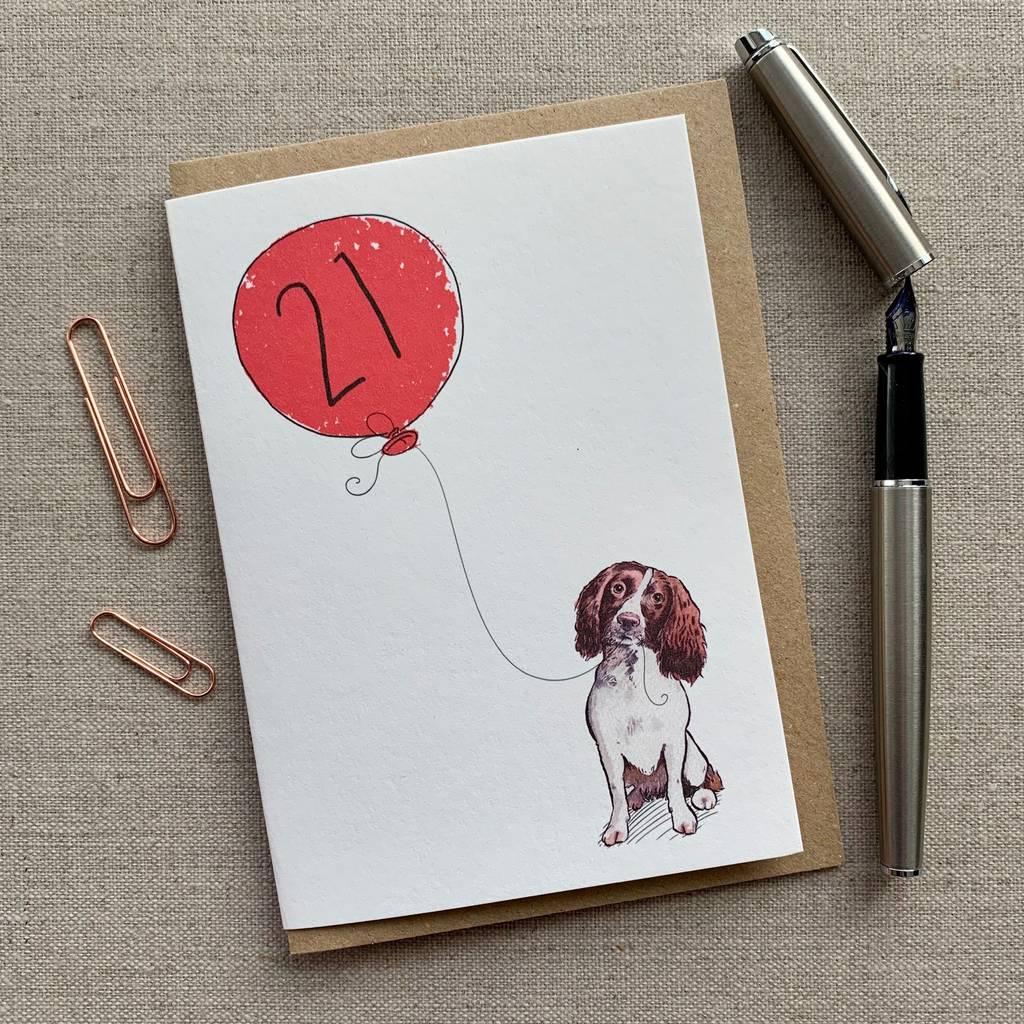 Personalised Springer Spaniel 21st Birthday Card