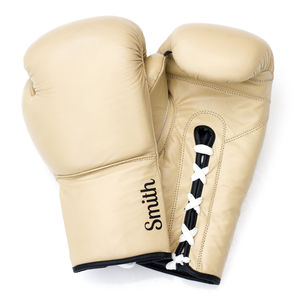 Personalised Premium Leather Boxing Gloves Light Tan