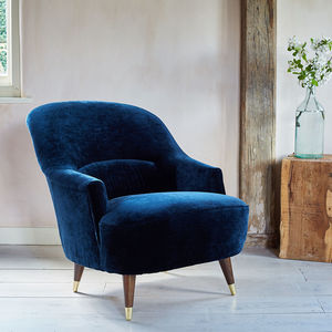 The New Pinta Armchair In Midnight Blue Luxe Velvet - kitchen