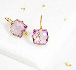 Square Amethyst Drop Earrings - earrings