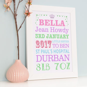 Personalised Birth Announcement Typography