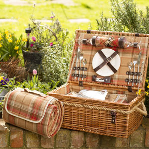 Personalised Two Person Picnic Hamper | Amber Tartan - garden sale