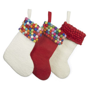 Handmade Felt Ball Christmas Stocking