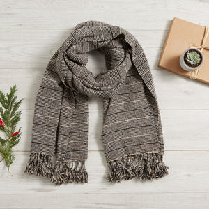 Check Organic Wool Blanket Scarf Mexican