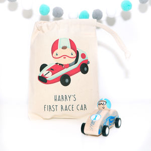 Wooden Pull Back Race Car With Personalised Bag